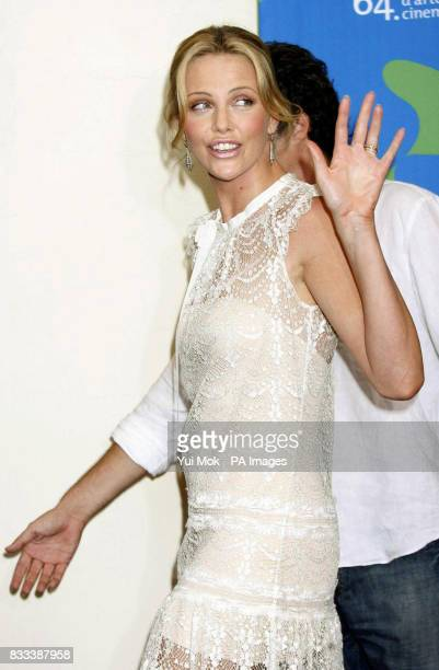 Charlize Theron arriving by boat for the 'In the Valley Of Elah' photocall at the Venice Film Festival in Italy
