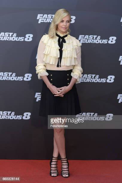 Charlize Theron attends a photocall for 'Fast Furious 8' at the Villamagna Hotel on April 6 2017 in Madrid Spain