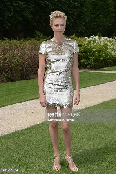 Charlize Theron attends at the Christian Dior show as part of Paris Fashion Week Haute Couture Fall/Winter 20142015 at on July 7 2014 in Paris France