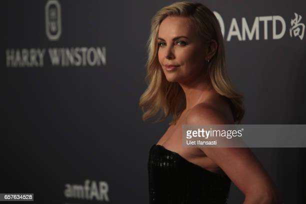Charlize Theron attends the amfAR Hong Kong Gala at Shaw Studios on March 25 2017 in Hong Kong Hong Kong