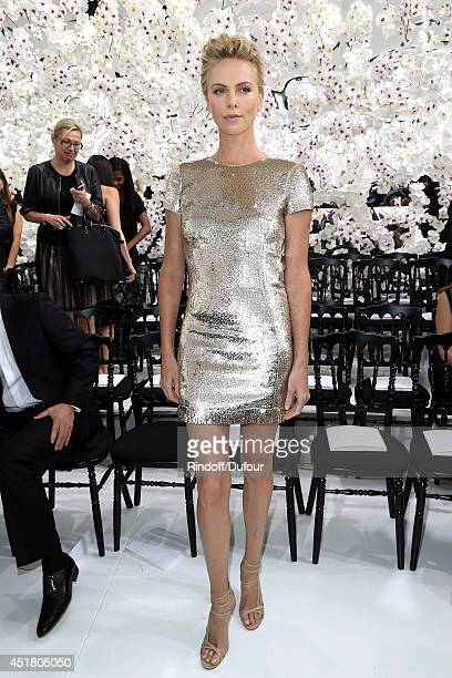 Charlize Theron attends the Christian Dior show as part of Paris Fashion Week Haute Couture Fall/Winter 20142015 at Muse Rodin on July 7 2014 in...