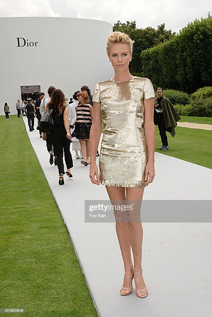 Charlize Theron attends the Christian Dior Show as part of Paris Fashion Week Haute Couture Fall/Winter 20142015 at Musee Rodin on July 7 2014 in...