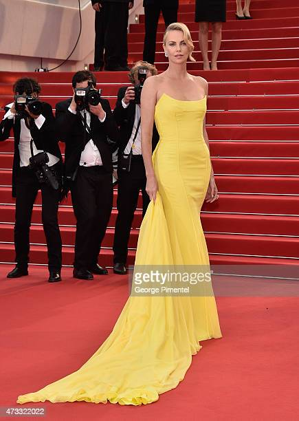 Charlize Theron attends the 'Mad Max Fury Road' Premiere during the 68th annual Cannes Film Festival on May 14 2015 in Cannes France