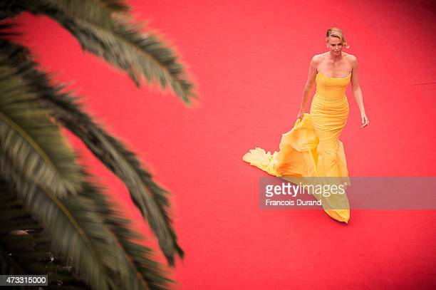 Charlize Theron attends the Premiere of 'Mad Max Fury Road' during the 68th annual Cannes Film Festival on May 14 2015 in Cannes France