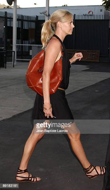 Charlize Theron attends the World Football Challenge between Chelsea and Inter Milan at Rose Bowl on July 21 2009 in Pasadena California