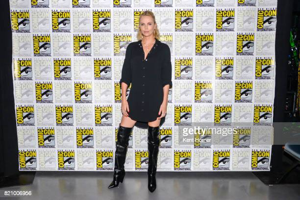 Charlize Theron backstage at Entertainment Weeky's Women Who Kick Ass Panel at San Diego Convention Center on July 22 2017 in San Diego California
