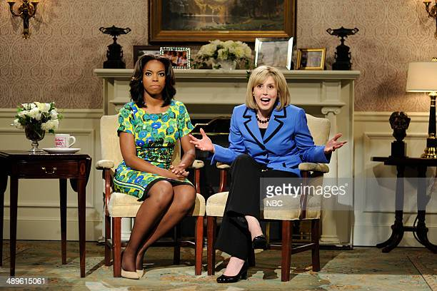 LIVE 'Charlize Theron' Episode 1661 Pictured Sasheer Zamata as First Lady Michelle Obama and Vanessa Bayer as Secretary of State Hillary Clinton on...