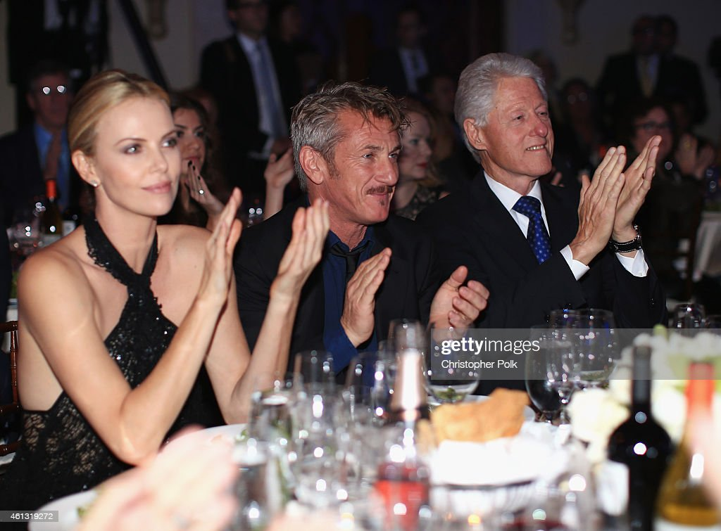 Charlize Theron Founder and CEO of J/P Haitian Relief Organization Sean Penn and Former President of the United States Bill Clinton attend the 4th...