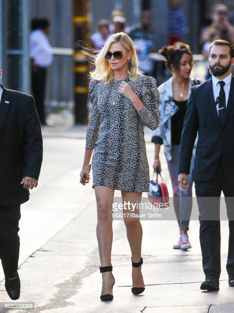 Charlize Theron is seen at 'Jimmy Kimmel Live' Show on April 13 2017 in Los Angeles California