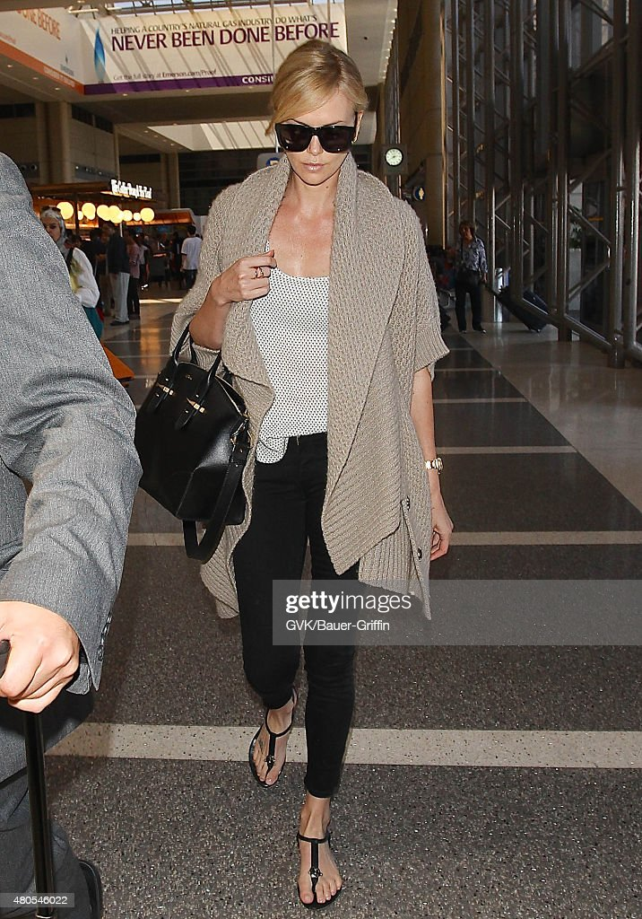 Charlize Theron is seen at LAX on July 12, 2015 in Los Angeles, California.