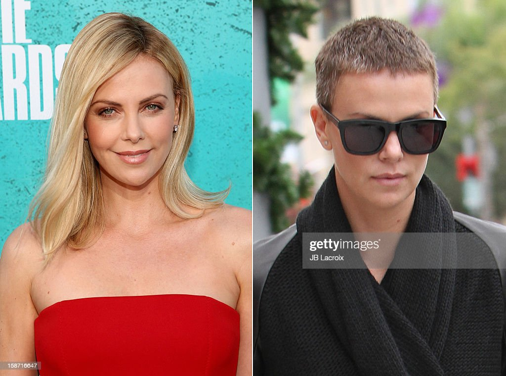 In this composite image a comparison has been made between the long and short hairstyles of Charlize Theron.(Left image) UNIVERSAL CITY, CA - JUNE 03: Actress Charlize Theron arrives at the 2012 MTV Movie Awards held at Gibson Amphitheatre on June 3, 2012 in Universal City, California. (Photo by Christopher Polk/Getty Images)(Right image) LOS ANGELES, CA - DECEMBER 23: Charlize Theron is seen on December 23, 2012 in Los Angeles, California.