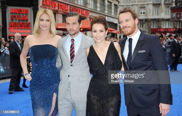 Charlize Theron Logan MarshallGreen Noomi Rapace and Michael Fassbender attend the world premiere of Prometheus at Empire Leicester Square on May 31...