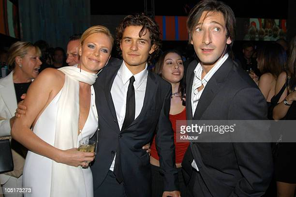 Charlize Theron Orlando Bloom and Adrien Brody during Spike TV Presents the 2003 GQ Men of the Year Awards After Party at Lower Manhattan in New York...