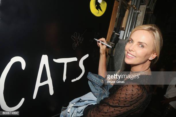 Charlize Theron poses backstage at the hit musical 'Cats' on Broadway at The Neil Simon Theatre on June 24 2017 in New York City