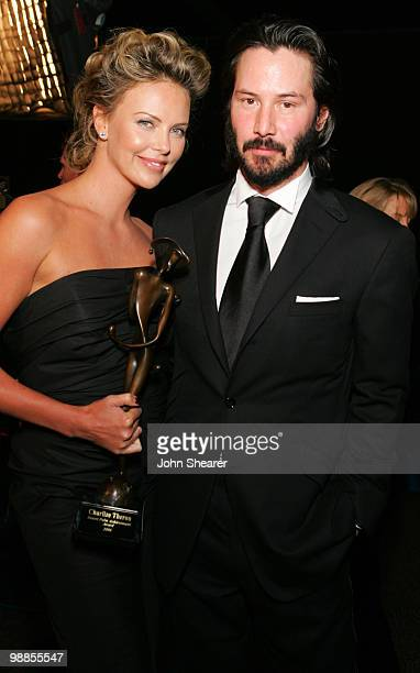 Charlize Theron recipient of the Desert Palm Achievement Award and Keanu Reeves