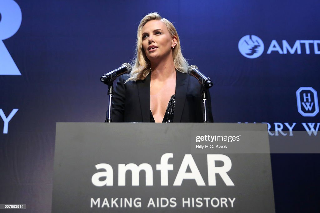 Charlize Theron speaks during the amfAR Hong Kong Gala 2017 at Shaw Studios on March 25, 2017 in Hong Kong, Hong Kong.