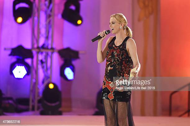 Charlize Theron speaks during the Life Ball 2015 show at City Hall on May 16 2015 in Vienna Austria