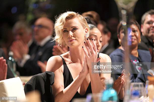 Charlize Theron wearing jewellery by Messika during the Cinema For Peace Gala 2016 during the 66th Berlinale International Film Festival on February...