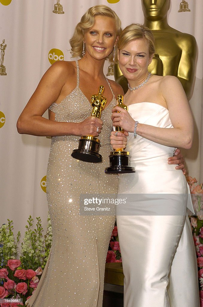 Charlize Theron, winner of Best Actress for 'Monster,' and Renee Zellweger, winner of Best Supporting Actress for 'Cold Mountain' during the The 76th Annual Academy Awards - Press Room at the The Kodak Theater in Hollywood, California.