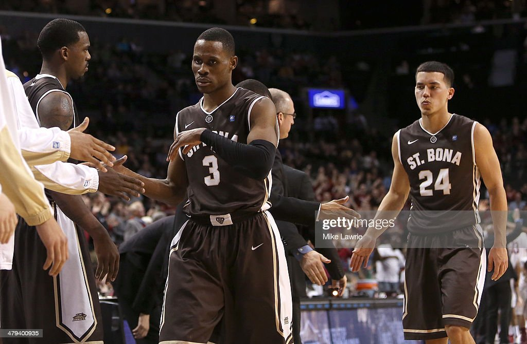 Charlon Kloof and Matthew Wright of the St Bonaventure Bonnies walk off the court late in the game against the Saint Joseph's Hawks during the...