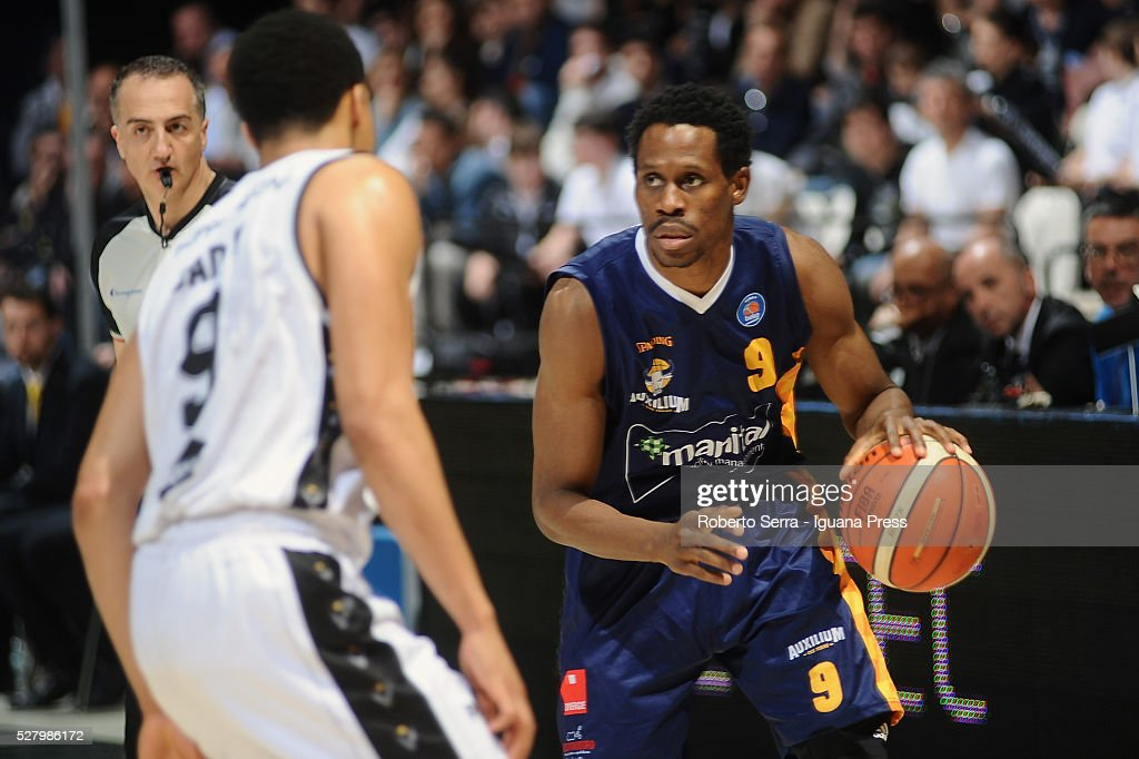 Charlon Kloof of Manital competes with Abdul Gaddy of Obiettivo Lavoro during the LegaBasket match between Virtus Obiettivo Lavoro Bologna v Auxilium...