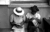 Charlotte Amalie St Thomas Island Virgin Islands Working on handbags at the handicrafts cooperative