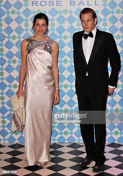Charlotte and Andrea Casiraghi arrive to attend the Monte Carlo Morocco Rose Ball 2010 held at the Sporting Monte Carlo on March 27 2010 in Monaco...