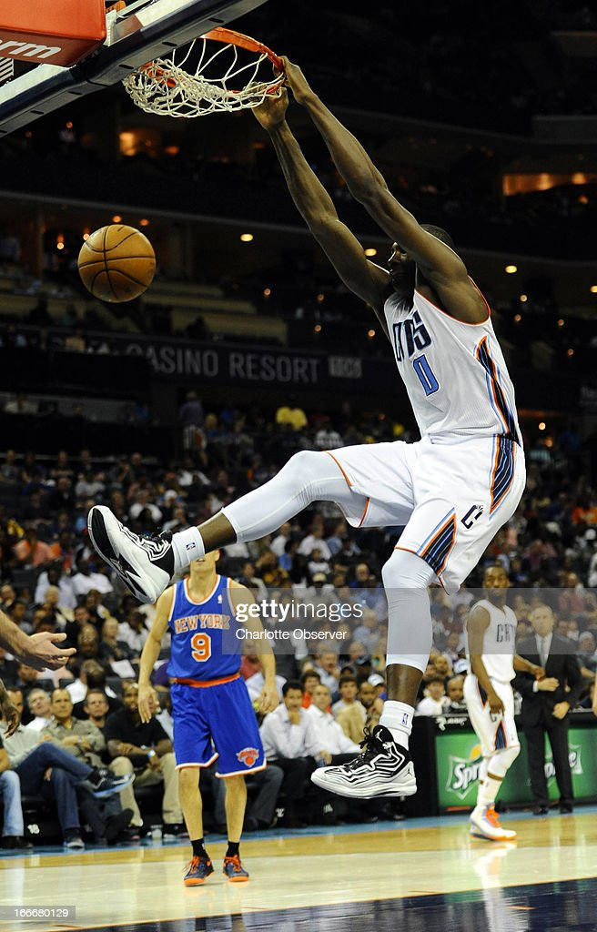 Charlotte Bobcats' Bismack Biyombo (0) gets a dunk against the New York Knicks during the first half at Time Warner Cable Arena in Charlotte, North Carolina, on Monday, April 15, 2013.