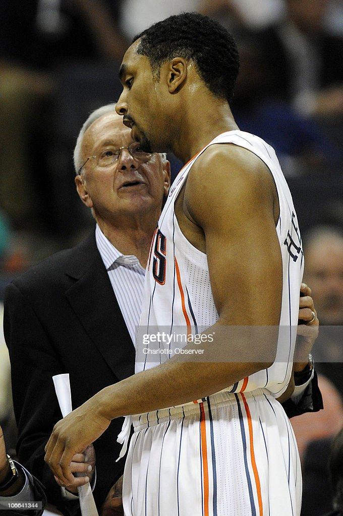 Charlotte Bobcats head coach Larry Brown talks with Gerald Henderson (15), who exits the game against the San Antonio Spurs during the 2nd half at Time Warner Cable Arena in Charlotte, North Carolina, Monday, November 8, 2010. San Antonio won, 95-91.