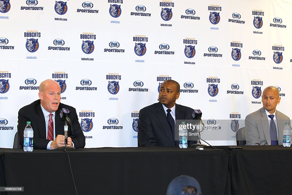 Charlotte Bobcats head coach Steve Clifford, President of basketball operations Rod Higgins and General Manager Rich Cho answer questions at the Time Warner Cable Arena on May 29, 2013 in Charlotte, North Carolina.