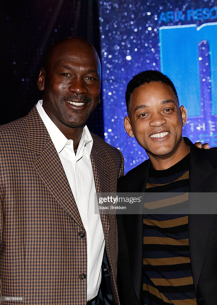 Charlotte Bobcats owner Michael Jordan (L) and actor Will Smith attend the 12th Annual Michael Jordan Celebrity Invitational Gala At ARIA Resort & Casino on April 5, 2013 in Las Vegas, Nevada.