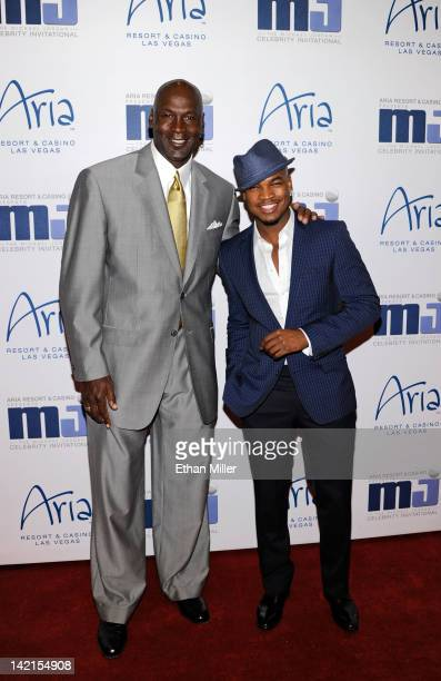 Charlotte Bobcats owner Michael Jordan and recording artist NeYo arrive at the 11th annual Michael Jordan Celebrity Invitational gala at the Aria...