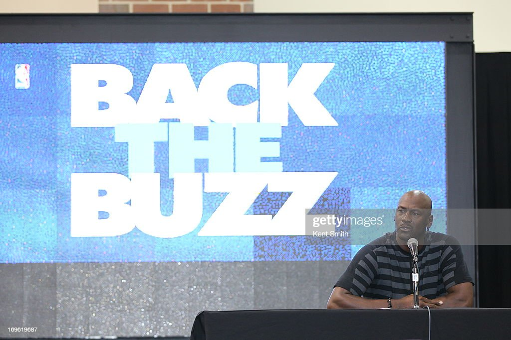 Charlotte Bobcats owner Michael Jordan announces the team name change to the Charlotte Hornets at the Time Warner Cable Arena on May 21, 2013 in Charlotte, North Carolina.