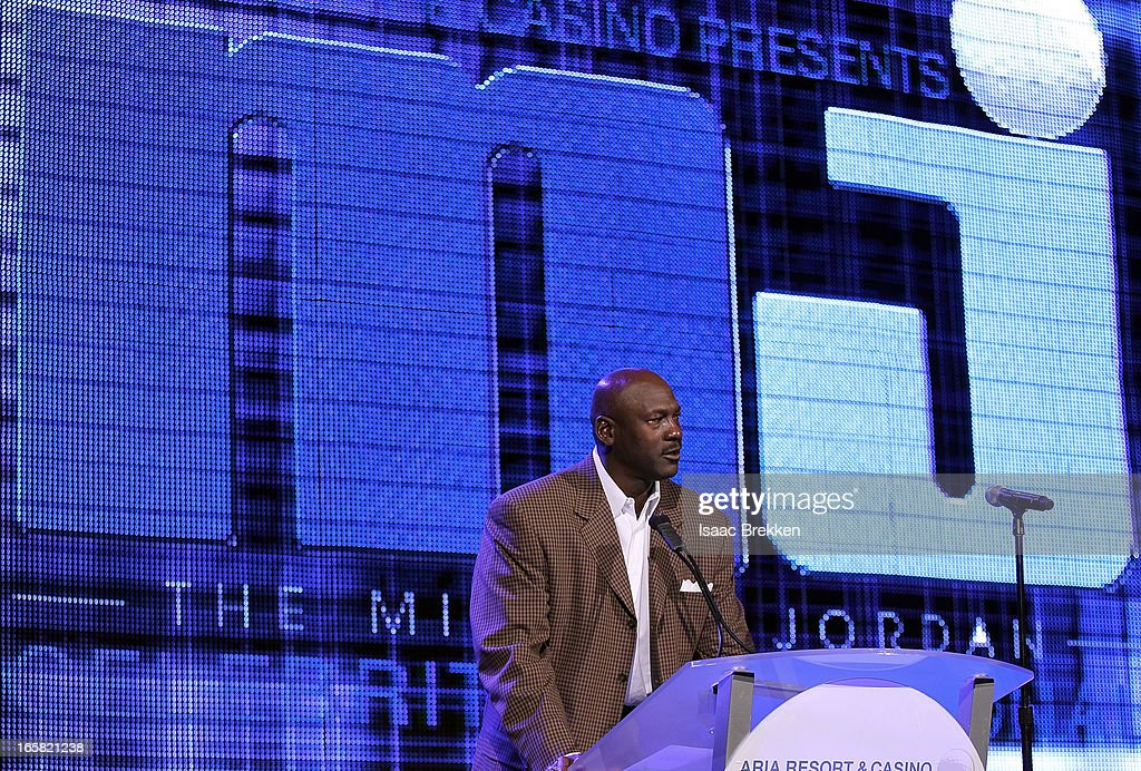 Charlotte Bobcats owner Michael Jordan speaks onstage at the 12th Annual Michael Jordan Celebrity Invitational Gala At ARIA Resort & Casino on April 5, 2013 in Las Vegas, Nevada.