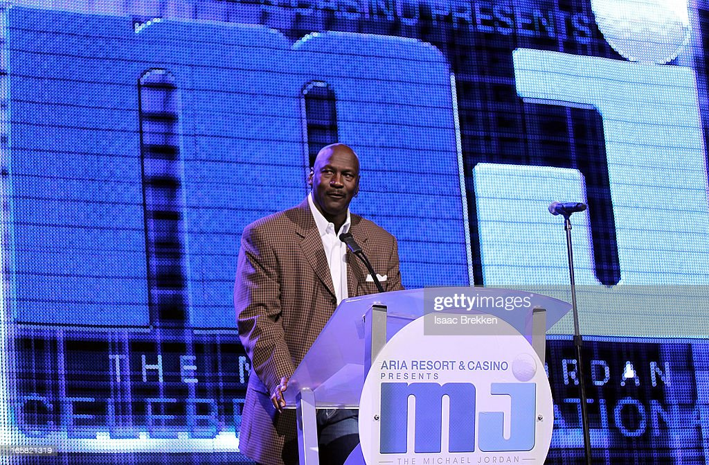 Charlotte Bobcats owner <a gi-track='captionPersonalityLinkClicked' href=/galleries/search?phrase=Michael+Jordan+-+Basketball+Player&family=editorial&specificpeople=73625 ng-click='$event.stopPropagation()'>Michael Jordan</a> speaks onstage at the 12th Annual <a gi-track='captionPersonalityLinkClicked' href=/galleries/search?phrase=Michael+Jordan+-+Basketball+Player&family=editorial&specificpeople=73625 ng-click='$event.stopPropagation()'>Michael Jordan</a> Celebrity Invitational Gala At ARIA Resort & Casino on April 5, 2013 in Las Vegas, Nevada.
