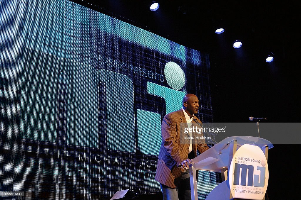 Charlotte Bobcats owner <a gi-track='captionPersonalityLinkClicked' href=/galleries/search?phrase=Michael+Jordan&family=editorial&specificpeople=73625 ng-click='$event.stopPropagation()'>Michael Jordan</a> speaks onstage at the 12th Annual <a gi-track='captionPersonalityLinkClicked' href=/galleries/search?phrase=Michael+Jordan&family=editorial&specificpeople=73625 ng-click='$event.stopPropagation()'>Michael Jordan</a> Celebrity Invitational Gala At ARIA Resort & Casino on April 5, 2013 in Las Vegas, Nevada.