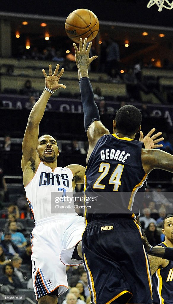 Charlotte Bobcats' Ramon Sessions (7) shoots over Indiana Pacers' Paul George (24) during the second half at Time Warner Cable Arena on Wednesday, January 15, 2013, in Charlotte, North Carolina. The Pacers won 103-76.