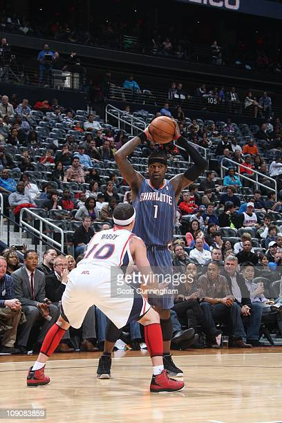 Charlotte Bobcats shooting guard Stephen Jackson looks for a pass during the game against the Atlanta Hawks on February 12 2011 at Philips Arena in...