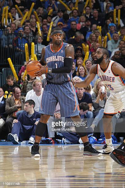 Charlotte Bobcats shooting guard Stephen Jackson protects the ball during the game against the Oklahoma City Thunder on March 18 2011 at the Oklahoma...