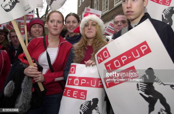 Charlotte Briggs Sarah Carty and Gordon Ashenhurst all students from Stirling University protests against topup fees outside the University of London...