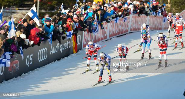Charlotte Calla from Swedeb Marit Bjoergen and Heidi Weng from Norway lead during Ladies crosscountry 30 km Mass Start Free final at FIS Nordic World...
