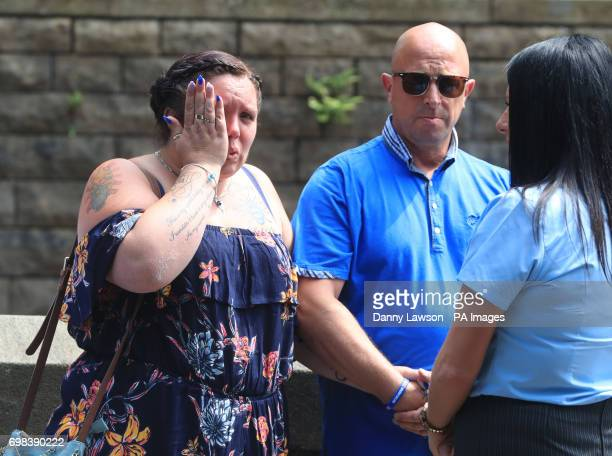 Charlotte Campbell and Paul Hodgson the mother and stepfather of Olivia CampbellHardy arriving for the funeral service of the Manchester bombing...