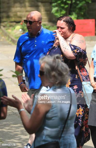 Charlotte Campbell and Paul Hodgson the mother and stepfather of Olivia CampbellHardy leave after the funeral service of the Manchester bombing...