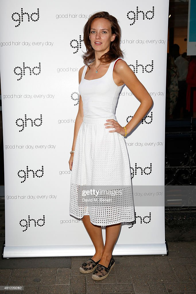 Charlotte Carroll attends ghd's exhibition of iconic beauty must-haves to celebrate the launch of ghd aura, a ground-breaking drying and styling tool on June 25, 2014 in London, England.