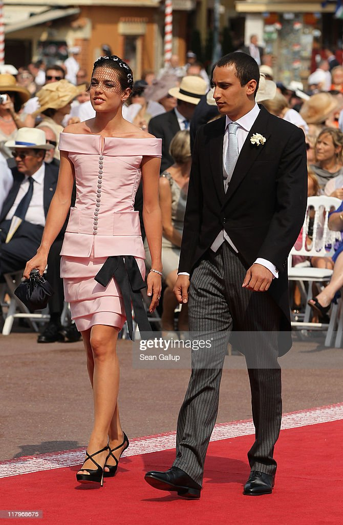 Charlotte Casiraghi and Alex Dellal attend the religious ceremony of the Royal Wedding of Prince Albert II of Monaco to Princess Charlene of Monaco in the main courtyard at the Prince's Palace on July 2, 2011 in Monaco. The Roman-Catholic ceremony follows the civil wedding which was held in the Throne Room of the Prince's Palace of Monaco on July 1. With her marriage to the head of state of the Principality of Monaco, Charlene Wittstock has become Princess consort of Monaco and gains the title, Princess Charlene of Monaco. Celebrations including concerts and firework displays are being held across several days, attended by a guest list of global celebrities and heads of state.