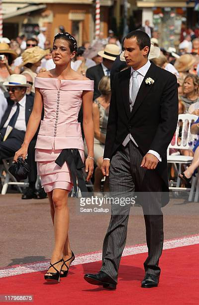 Charlotte Casiraghi and Alex Dellal attend the religious ceremony of the Royal Wedding of Prince Albert II of Monaco to Princess Charlene of Monaco...