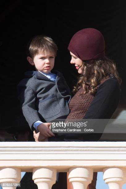Charlotte Casiraghi and and her son Raphael Elmaleh greet the crowd from the palace's balcony during the Monaco National Day Celebrations on November...