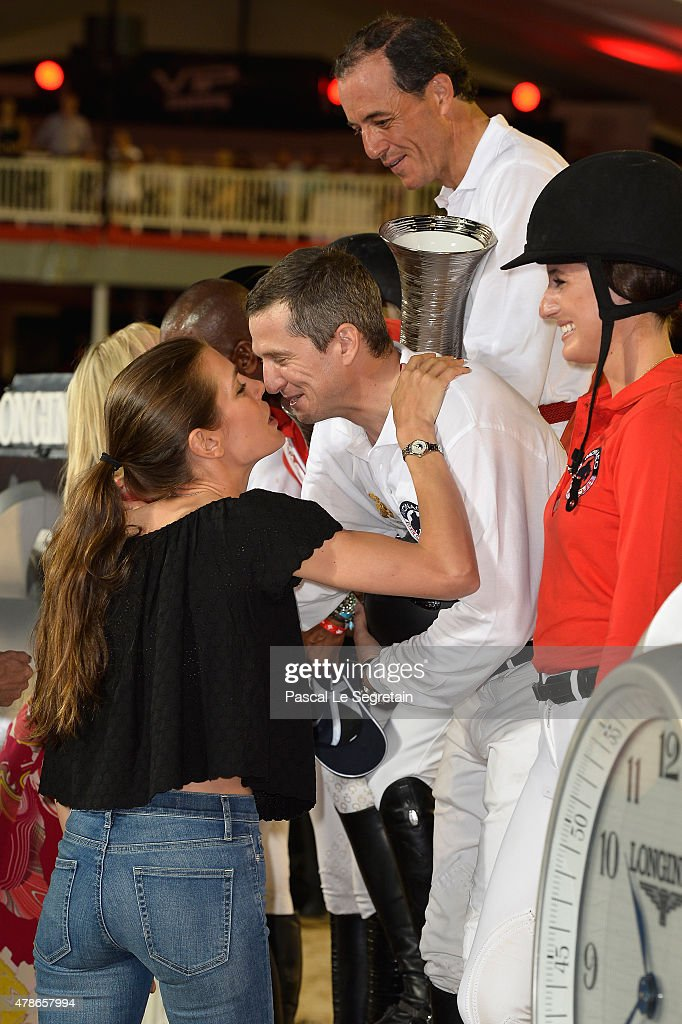 Charlotte Casiraghi and Guillaume Canet attend the award ceremony of the Longines ProAm Cup Monaco during the 10th International MonteCarlo Jumping...