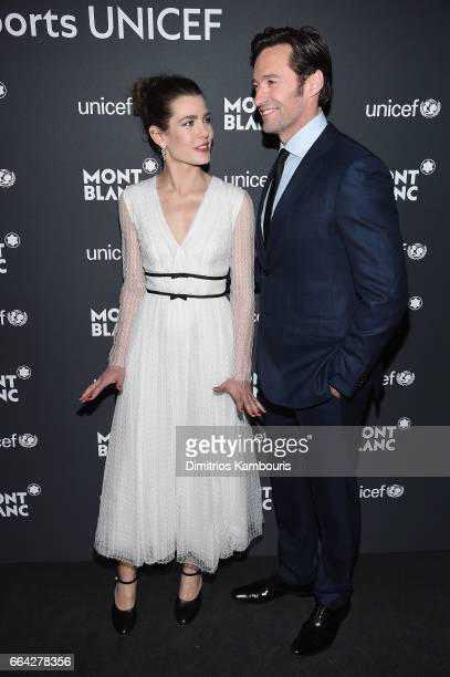 Charlotte Casiraghi and Hugh Jackman attend the Montblanc UNICEF Gala Dinner at the New York Public Library on April 3 2017 in New York City