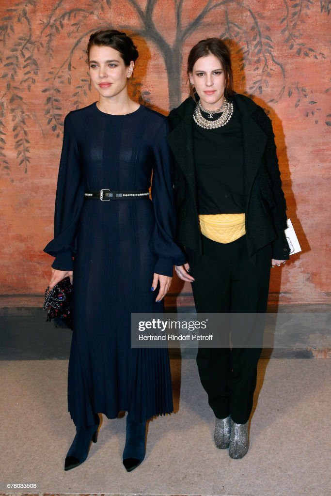Charlotte Casiraghi and Juliette Maillot attend the Chanel Cruise 2017/2018 Collection Show at Grand Palais on May 3, 2017 in Paris, France.